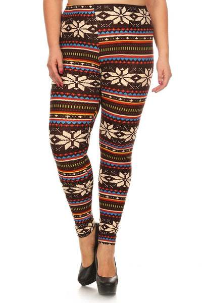 Womens Snowflake Winter Plus Size Leggings XL, 1X, 2X,