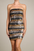Load image into Gallery viewer, Womens Gold And Black Sequin Striped Strapless Bodycon Party Mini Dress M