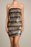 Womens Gold And Black Sequin Striped Strapless Bodycon Party Mini Dress M