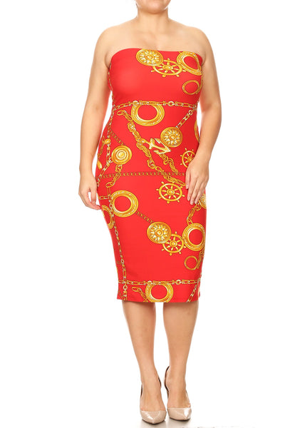 Womens Red Strapless Bodycon Dress