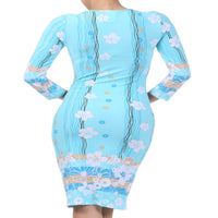 Womens Blue Floral Casual Spring Tea Dress S, M, L