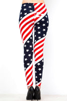 Womens  July Fourth Independence day Red White And Blue Stars and Stripes Leggings S, M, L