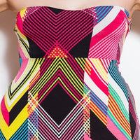 Womens Chevron Print Halter Summer Beach Dress S M L