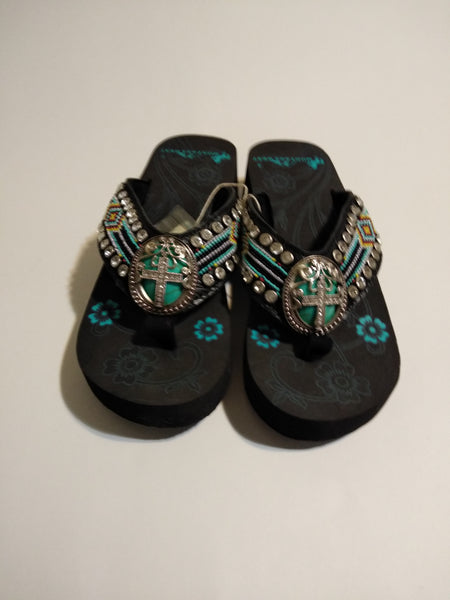Montana West Aztec Hand Beaded Wedge Flip Flop Sandals with A Pewter Concho Cross 7, 8, 9, 10, 11