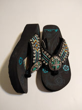 Load image into Gallery viewer, Montana West Aztec Hand Beaded Wedge Flip Flop Sandals with A Pewter Concho Cross 7, 8, 9, 10, 11