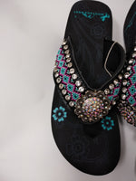 Montana West Aztec Geometric Hand Beaded Flip Flop Sandals 9, 10, 11