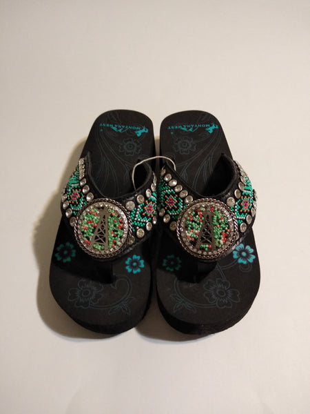 Montana West Black Hand Beaded Oil Derrk Flip Flop Sandals  7, 8, 9, 10, 11