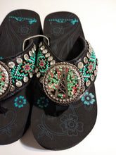 Load image into Gallery viewer, Montana West Black Hand Beaded Oil Derrk Flip Flop Sandals  7, 8, 9, 10, 11