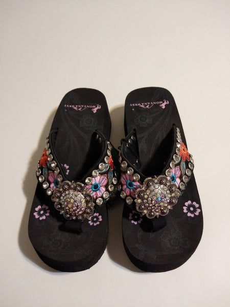 Montana West Flower Bloom Embroidered Flip Flop Wedge Sandal 5