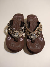 Load image into Gallery viewer, Montana West Camouflage Flower Crystal Concho Flip Flop Wedge Sandals 12