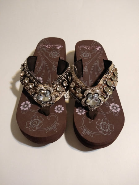 Montana West Camouflage Flower Crystal Concho Flip Flop Wedge Sandals 12