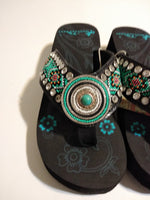 Montana West Aztec Hand Beaded Sandals with a Turquoise Concho 6, 7, 8,  11