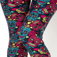 Load image into Gallery viewer, Womens Sugar Skull Halloween Inspired Leggings S M L
