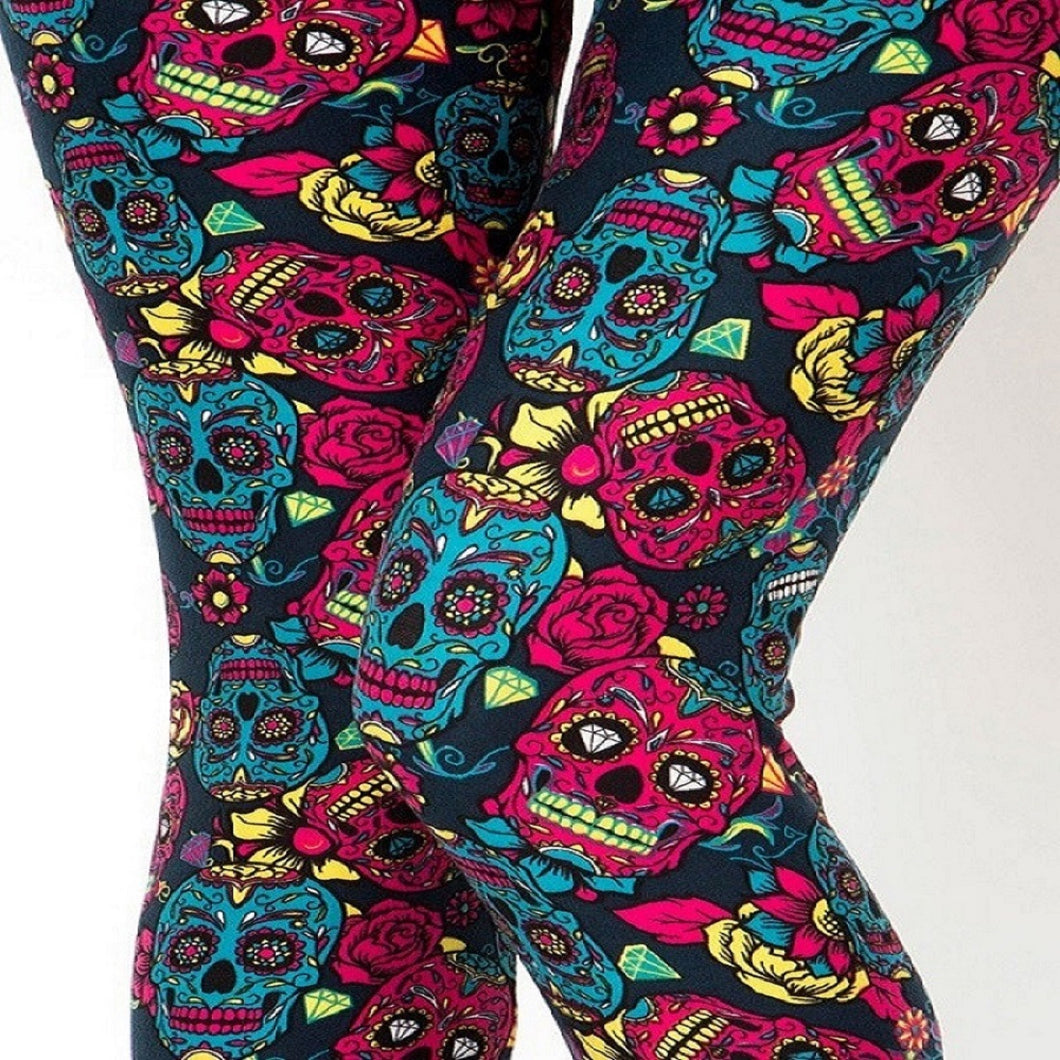 Womens Sugar Skull Halloween Inspired Leggings S M L
