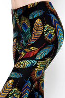 Womens Peacock Buttery Soft Brushed Leggings S M L