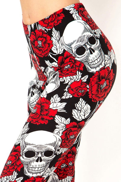 Womens Red And Black Skeleton Bones Leggings S, M, L
