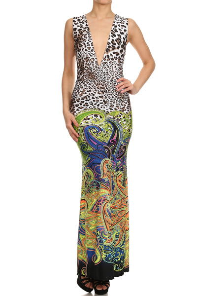 Womens Animal And Paisley Print V-Neck Summer Beach Dress S M L