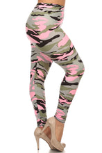 Load image into Gallery viewer, Womens Pink Camouflage Heaven Leggings L XL 1X 2X