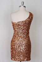 Womens Brown Copper Colored Sequin Party Club Cocktail Dress