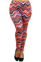 Load image into Gallery viewer, Womens Chevron Print Plus Size Leggings 1X, 2X, 3X