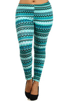 Womens Plus Size Teal Geometric Cotton Leggings XL 2X 3X