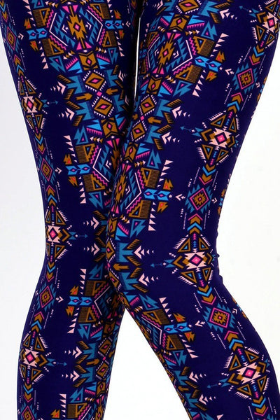 Womens Blue Aztec Tribal Leggings S M L