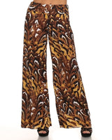 Womens Brown Brussel Palazzo Wide Leg Flare Pants S M L