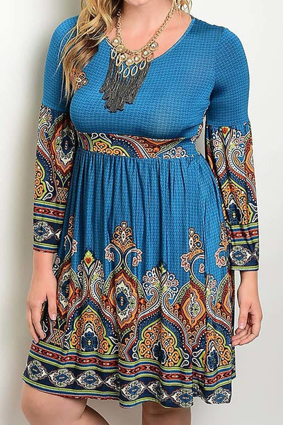 Womens Plus Size Teal Blue Bohemian Long Sleeve Casual Dress XL