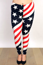 Load image into Gallery viewer, Womens Plus Size July Fourth Independence day Red White And Blue Stars and Stripes Leggings