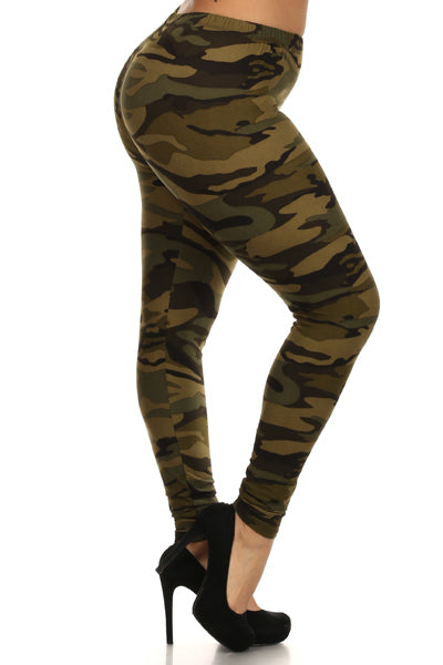 Womens Plus Size Army Camoflauge Leggings XL, 1X, 2X