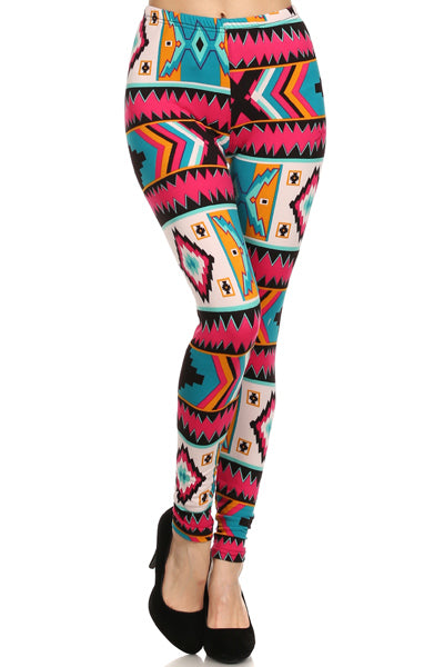 Aztec Pink Plus Size Leggings XL, 1X, 2X