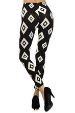 Load image into Gallery viewer, Womens Black And White Diamond Shaped Leggings S M L