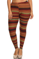 Womens Aztec Print Plus Size Leggings XL, 1X, 2X