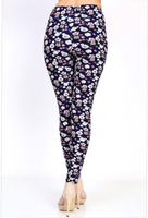 Womens Floral Extravaganza Navy Blue Leggings S M L