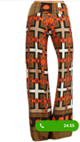 Womens Aztec Print Palazzo Wide Leg Pants With A High Waist Foldover S M L