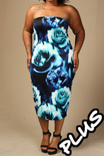 Load image into Gallery viewer, Womens Plus Size Blue Halter Floral Bodycon Dress 2X