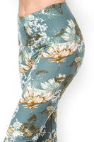 Dark Mint Green Floral Butterfly Brushed Leggings XL 1X 2X