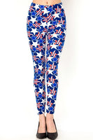 Womens Plus Size July Fourth Independence day Red White And Blue Stars and Stripes Leggings