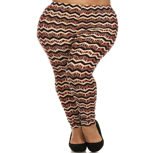 Womens Zig Zag Chevron Print Plus Size Leggings XL, 1X, 2X