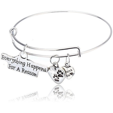 Everything Happens For A  Reason Dog Paw Print Bangle Bracelet - Just Love Dogs