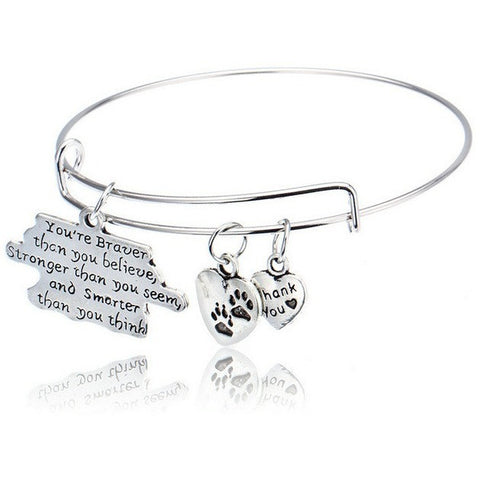 You're Braver Than You Believe Dog Paw Print Bangle Bracelet - Just Love Dogs