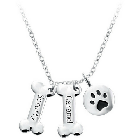 Custom Silver Dog Bone Necklace - Just Love Dogs