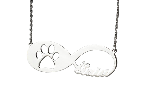 Custom Infinity Paw Print Necklace