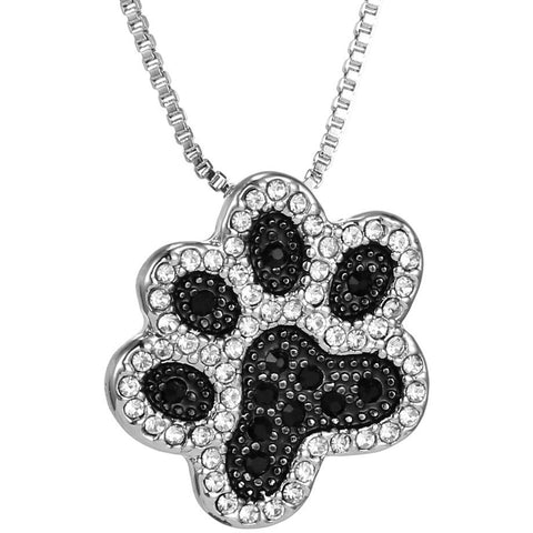 Black & White Crystal Dog Paw Print Necklace - Just Love Dogs