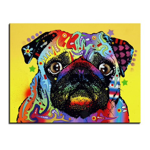 Pug Multi Color Canvas Picture