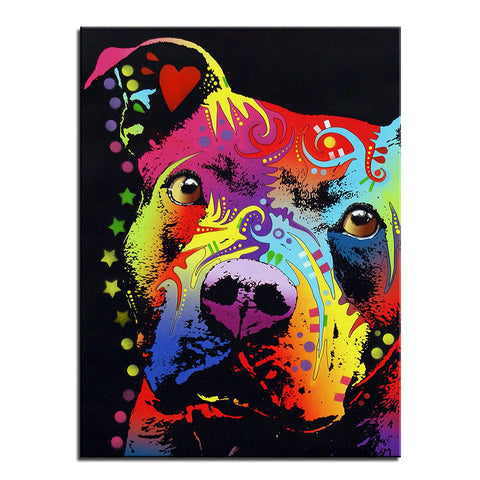 Pitbull Multi Color Canvas Picture