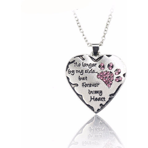 No Longer By My Side But Forever In My Heart Crystal Pendant Necklace - Just Love Dogs