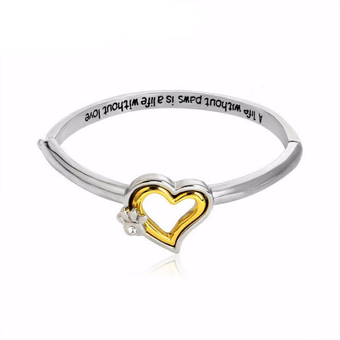 A Life Without Paws Is A Life Without Love Crystal Heart Paw Print Bangle Bracelet - Just Love Dogs