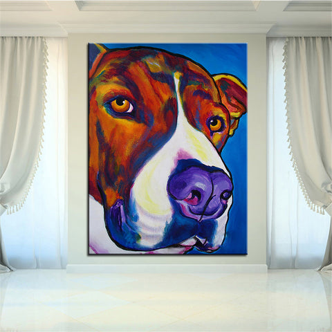 The Nosy Pitbull Multi Color Canvas Picture
