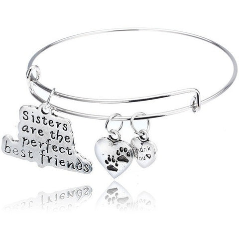 Sisters Are The Perfect Best Friend Dog Paw Print Bangle Bracelet - Just Love Dogs